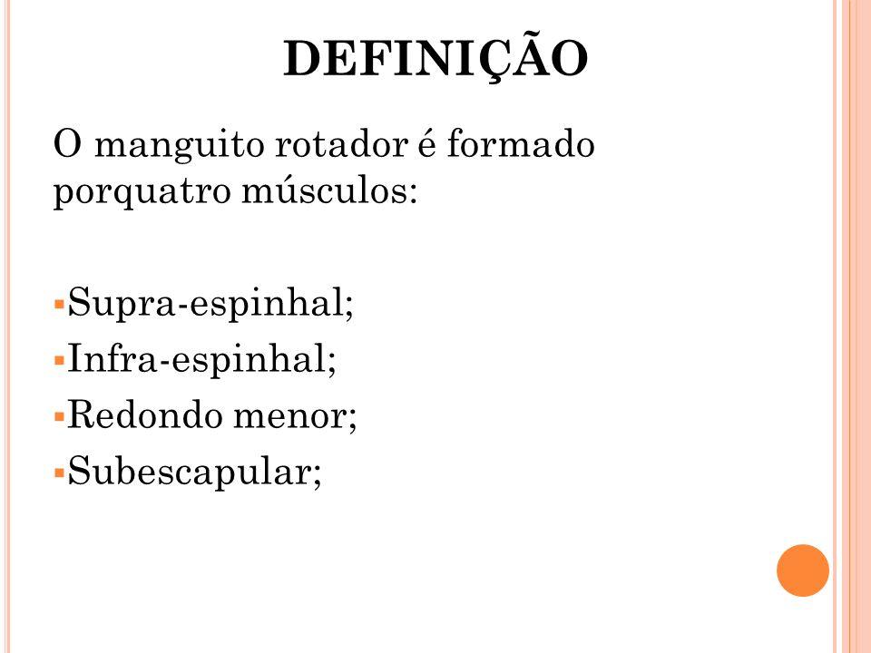 DEFINIÇÃO O manguito rotador é formado porquatro músculos: Supra-espinhal; Infra-espinhal; Redondo menor; Subescapular;