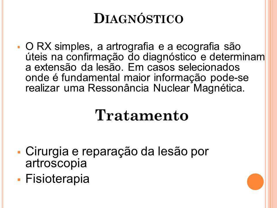 D IAGNÓSTICO O RX simples, a artrografia e a ecografia são úteis na confirmação do diagnóstico e determinam a extensão da lesão. Em casos selecionados