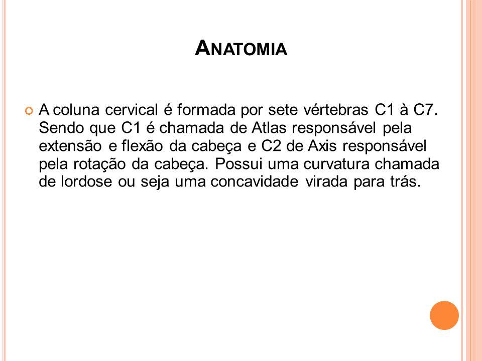 A NATOMIA A coluna cervical é formada por sete vértebras C1 à C7. Sendo que C1 é chamada de Atlas responsável pela extensão e flexão da cabeça e C2 de
