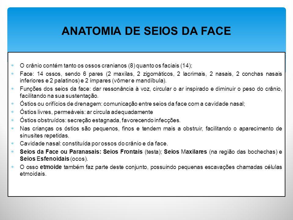 O crânio contém tanto os ossos cranianos (8) quanto os faciais (14); Face: 14 ossos, sendo 6 pares (2 maxilas, 2 zigomáticos, 2 lacrimais, 2 nasais, 2 conchas nasais inferiores e 2 palatinos) e 2 ímpares (vômer e mandíbula).