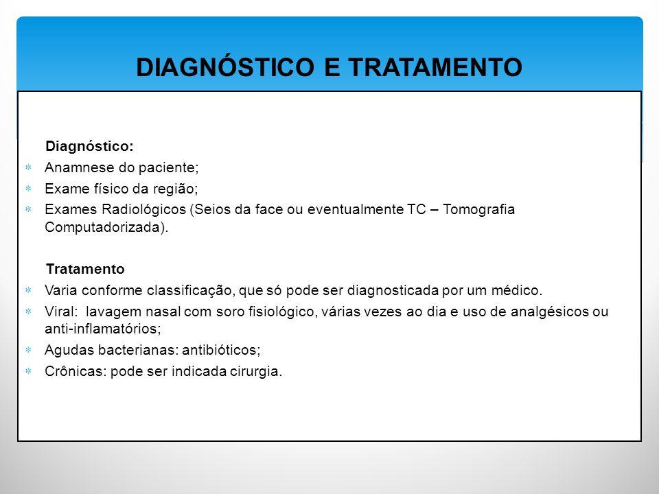 Diagnóstico: Anamnese do paciente; Exame físico da região; Exames Radiológicos (Seios da face ou eventualmente TC – Tomografia Computadorizada).
