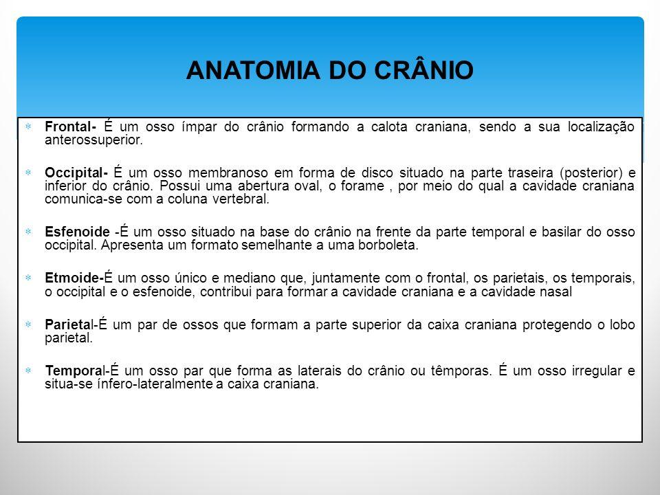 ANATOMIA DO CRÂNIO Frontal- É um osso ímpar do crânio formando a calota craniana, sendo a sua localização anterossuperior.