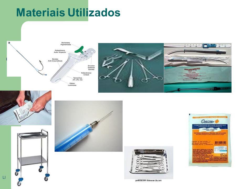 Materias utilizados bandeja espéculo vaginal bacia cuba de medicamentos gaze estéril campos estéreis pinças para compressa seringa de 10ml (20 ml) agu