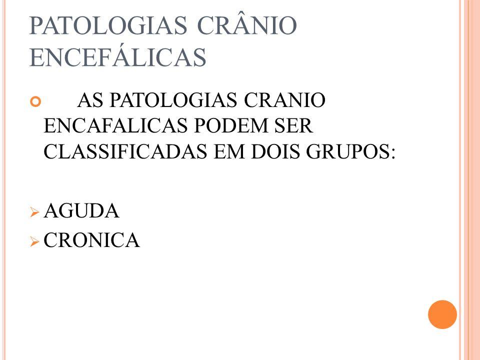 PATOLOGIAS CRÂNIO ENCEFÁLICAS AS PATOLOGIAS CRANIO ENCAFALICAS PODEM SER CLASSIFICADAS EM DOIS GRUPOS: AGUDA CRONICA
