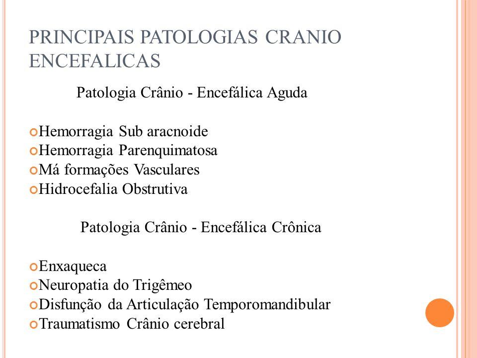 PRINCIPAIS PATOLOGIAS CRANIO ENCEFALICAS Patologia Crânio - Encefálica Aguda Hemorragia Sub aracnoide Hemorragia Parenquimatosa Má formações Vasculare