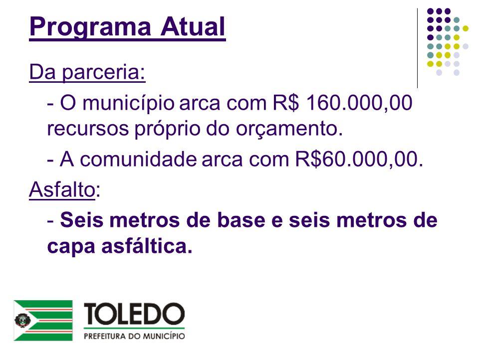 Programa Atual Da parceria: - O município arca com R$ 160.000,00 recursos próprio do orçamento. - A comunidade arca com R$60.000,00. Asfalto: - Seis m