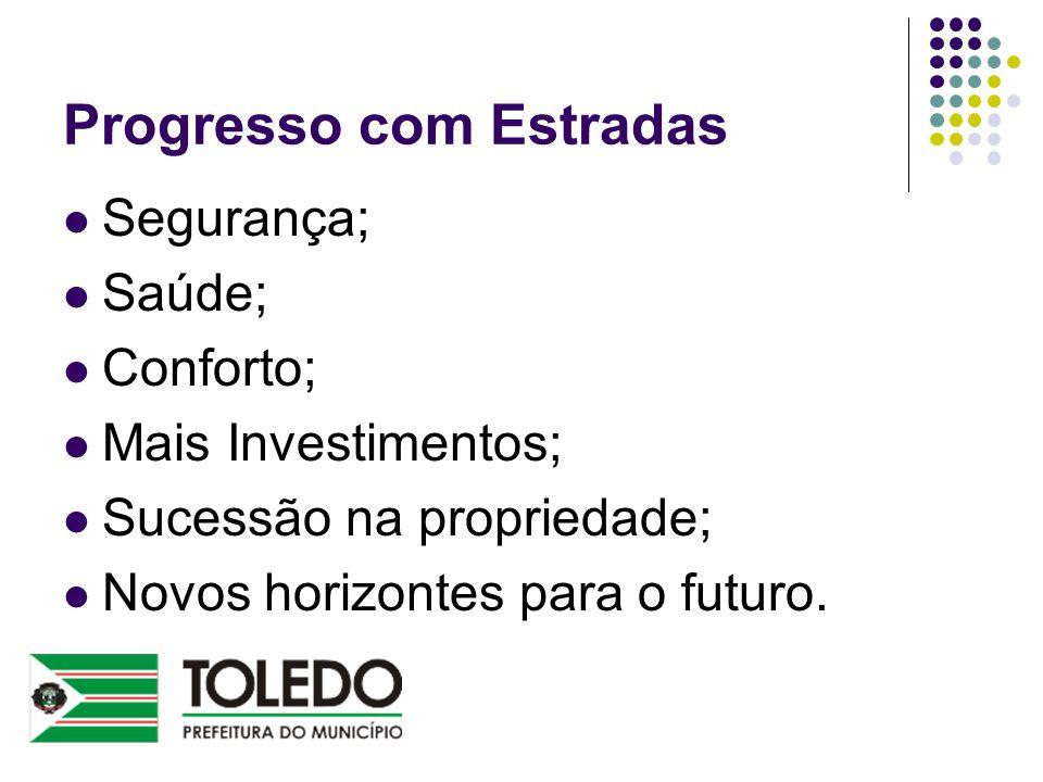 Progresso com Estradas Segurança; Saúde; Conforto; Mais Investimentos; Sucessão na propriedade; Novos horizontes para o futuro.
