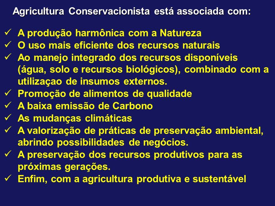 Agricultura Conservacionista está associada com: A produção harmônica com a Natureza O uso mais eficiente dos recursos naturais Ao manejo integrado do
