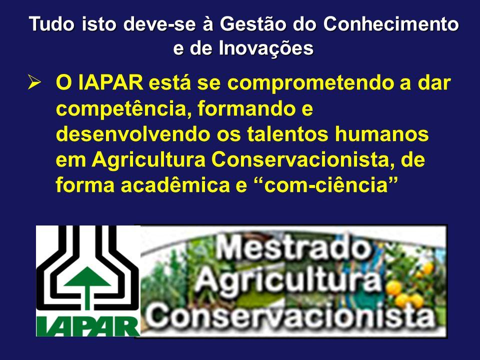 Tudo isto deve-se à Gestão do Conhecimento e de Inovações O IAPAR está se comprometendo a dar competência, formando e desenvolvendo os talentos humano