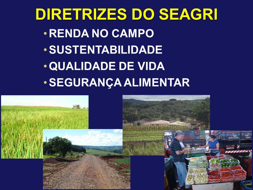 DIRETRIZES DO SEAGRI RENDA NO CAMPO SUSTENTABILIDADE QUALIDADE DE VIDA SEGURANÇA ALIMENTAR