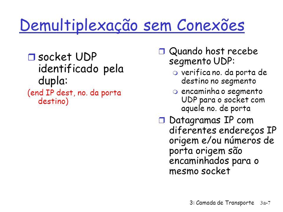 3: Camada de Transporte3a-7 Demultiplexação sem Conexões socket UDP identificado pela dupla: (end IP dest, no. da porta destino) Quando host recebe se
