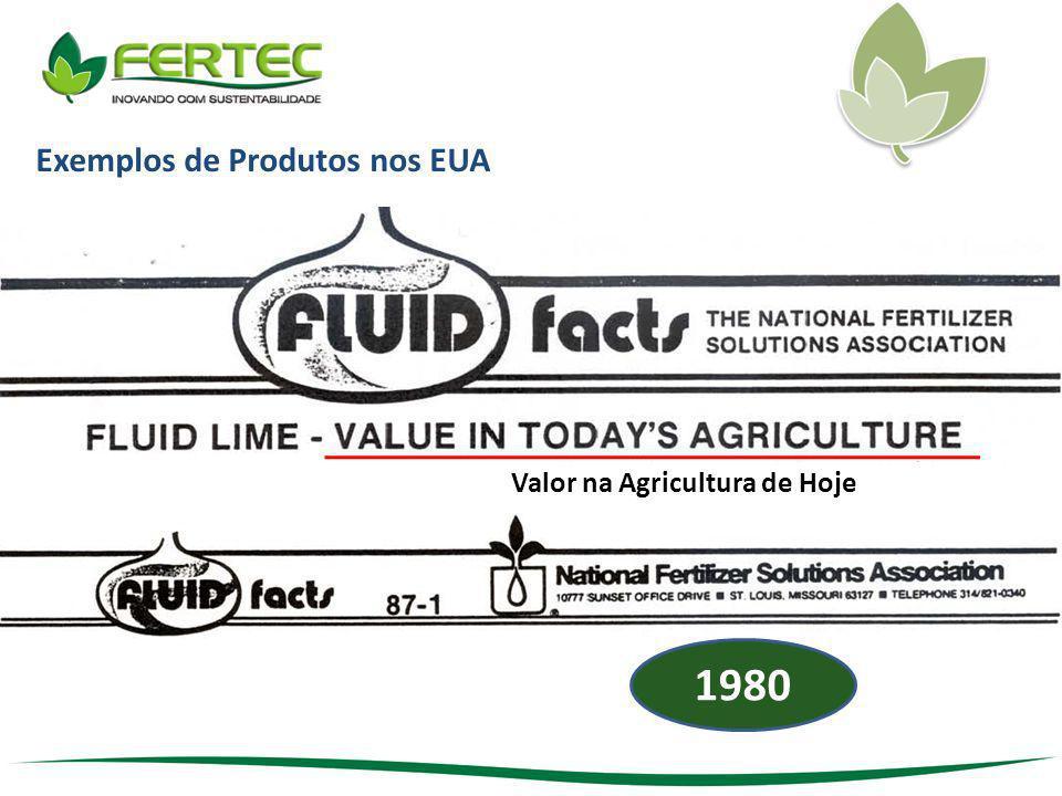 Exemplos de Produtos nos EUA Valor na Agricultura de Hoje 1980