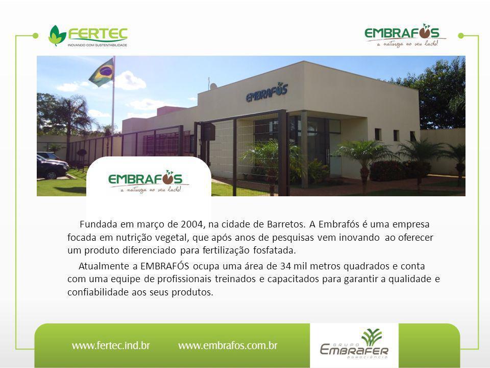 Fundada em março de 2004, na cidade de Barretos. A Embrafós é uma empresa focada em nutrição vegetal, que após anos de pesquisas vem inovando ao ofere