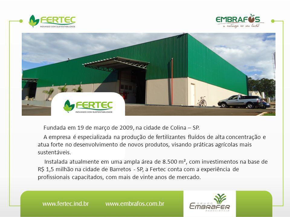 Fundada em 19 de março de 2009, na cidade de Colina – SP. A empresa é especializada na produção de fertilizantes fluídos de alta concentração e atua f