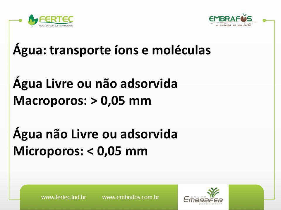Água: transporte íons e moléculas Água Livre ou não adsorvida Macroporos: > 0,05 mm Água não Livre ou adsorvida Microporos: < 0,05 mm