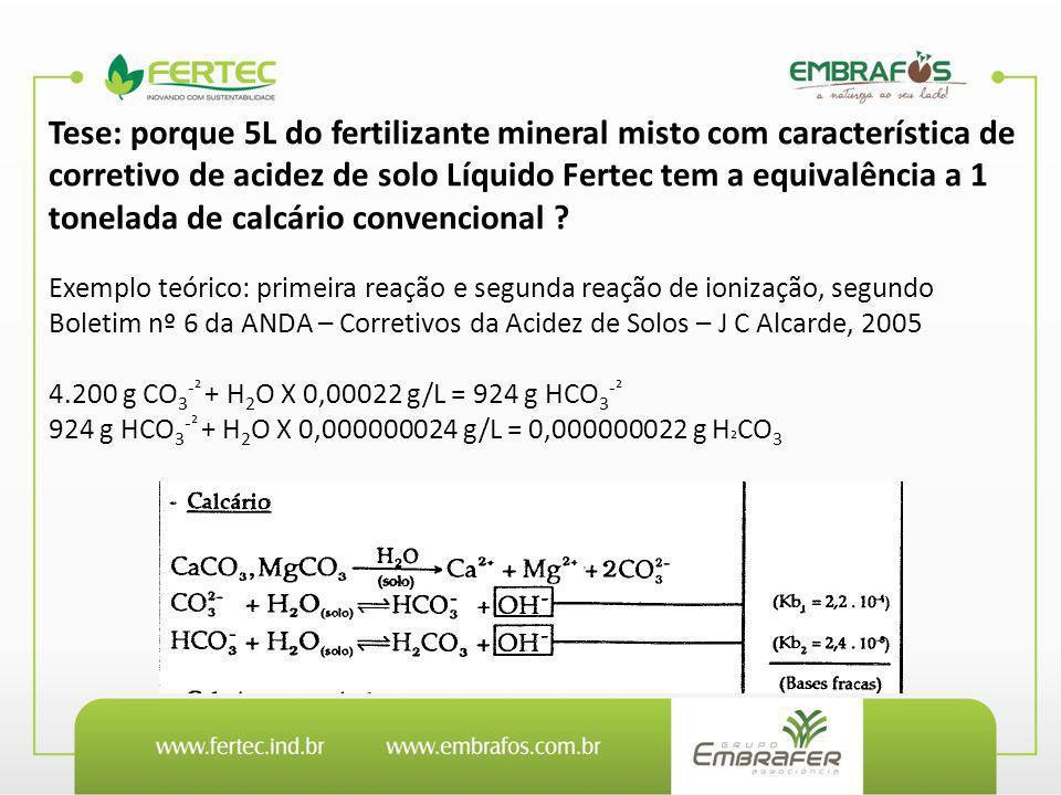 Tese: porque 5L do fertilizante mineral misto com característica de corretivo de acidez de solo Líquido Fertec tem a equivalência a 1 tonelada de calc
