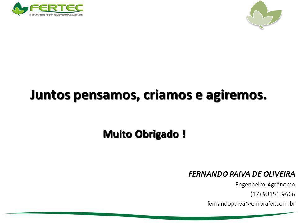 FERNANDO PAIVA DE OLIVEIRA Engenheiro Agrônomo (17) 98151-9666 fernandopaiva@embrafer.com.br Muito Obrigado ! Juntos pensamos, criamos e agiremos.
