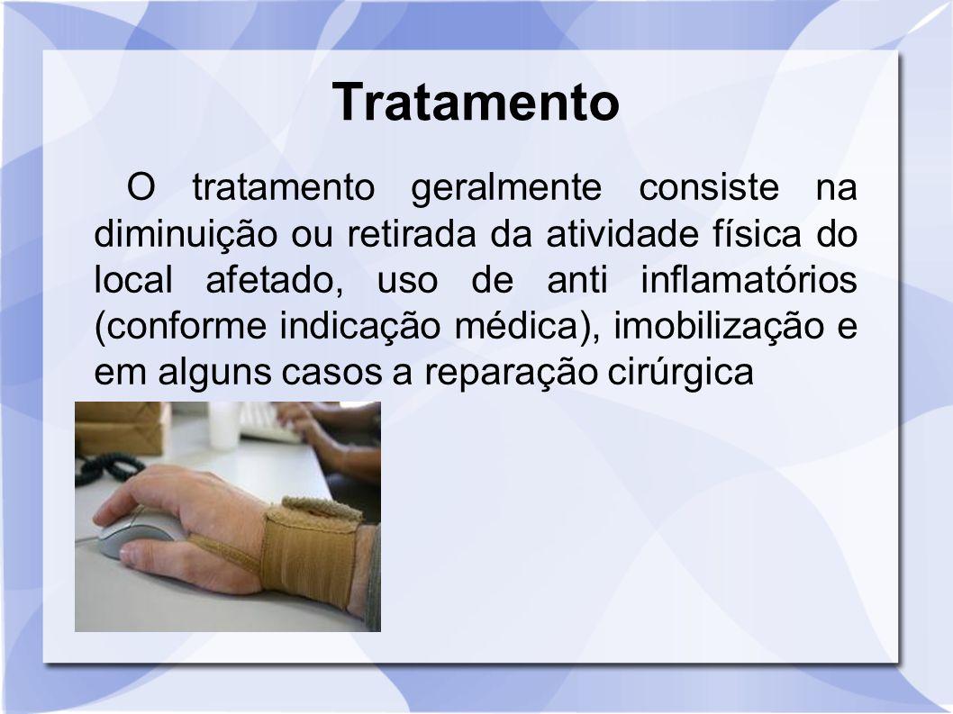 Tratamento O tratamento geralmente consiste na diminuição ou retirada da atividade física do local afetado, uso de anti inflamatórios (conforme indica