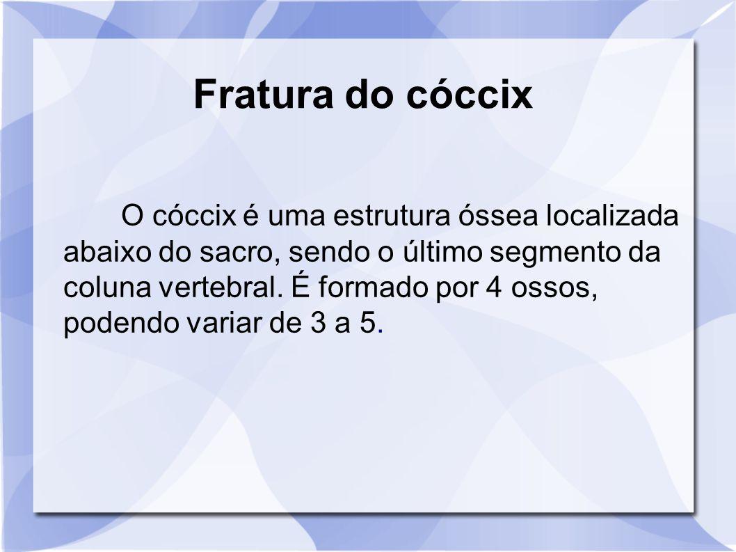 O cóccix é uma estrutura óssea localizada abaixo do sacro, sendo o último segmento da coluna vertebral. É formado por 4 ossos, podendo variar de 3 a 5