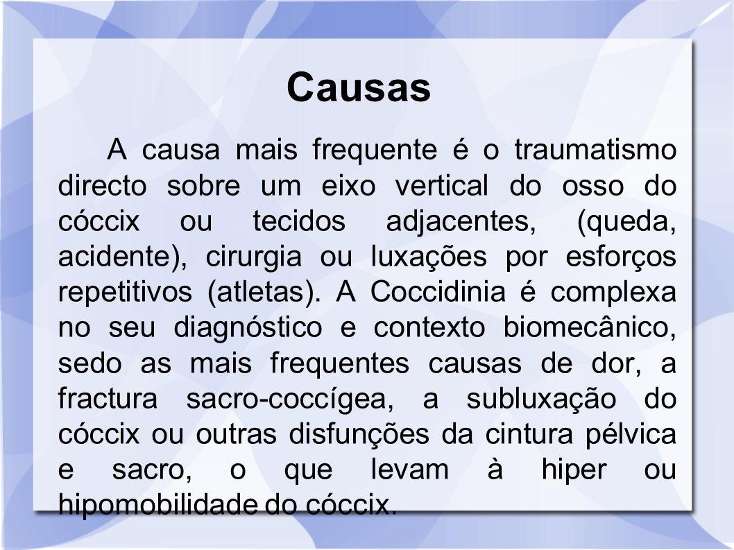 Causas A causa mais frequente é o traumatismo directo sobre um eixo vertical do osso do cóccix ou tecidos adjacentes, (queda, acidente), cirurgia ou l
