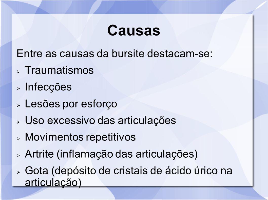 Causas Entre as causas da bursite destacam-se: Traumatismos Infecções Lesões por esforço Uso excessivo das articulações Movimentos repetitivos Artrite