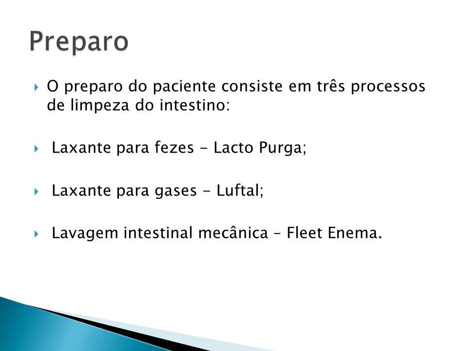 O preparo do paciente consiste em três processos de limpeza do intestino: Laxante para fezes - Lacto Purga; Laxante para gases - Luftal; Lavagem intes