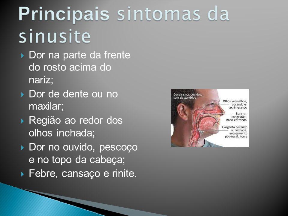 Dor na parte da frente do rosto acima do nariz; Dor de dente ou no maxilar; Região ao redor dos olhos inchada; Dor no ouvido, pescoço e no topo da cab