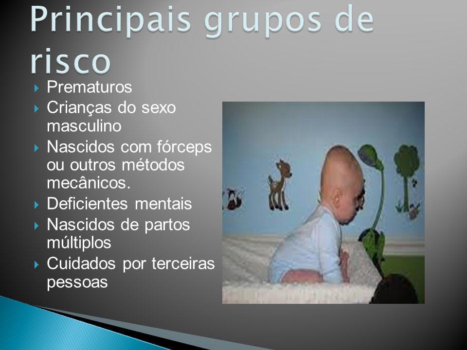 Prematuros Crianças do sexo masculino Nascidos com fórceps ou outros métodos mecânicos. Deficientes mentais Nascidos de partos múltiplos Cuidados por