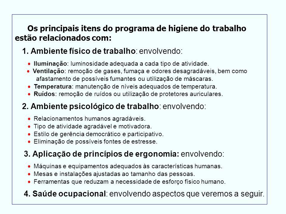 Os principais itens do programa de higiene do trabalho estão relacionados com: 1. Ambiente físico de trabalho: envolvendo: Iluminação: luminosidade ad