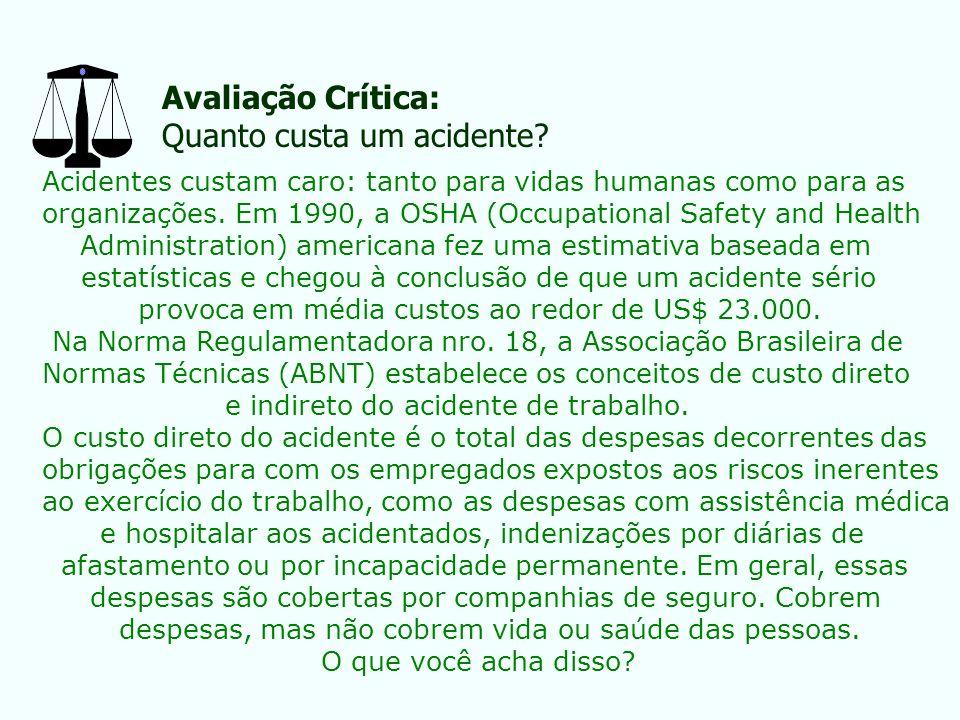 Avaliação Crítica: Quanto custa um acidente? Acidentes custam caro: tanto para vidas humanas como para as organizações. Em 1990, a OSHA (Occupational