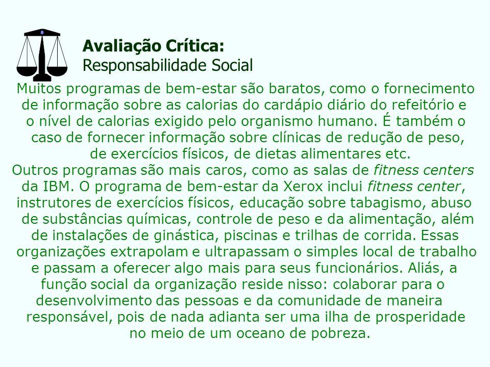 Avaliação Crítica: Responsabilidade Social Muitos programas de bem-estar são baratos, como o fornecimento de informação sobre as calorias do cardápio