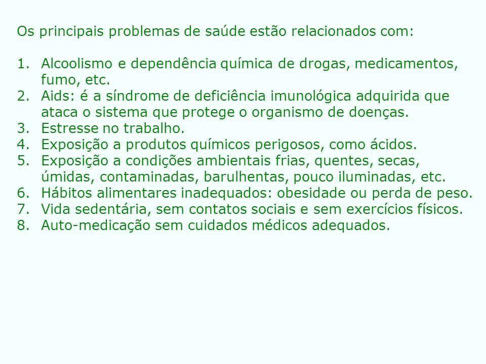Os principais problemas de saúde estão relacionados com: 1.Alcoolismo e dependência química de drogas, medicamentos, fumo, etc. 2.Aids: é a síndrome d