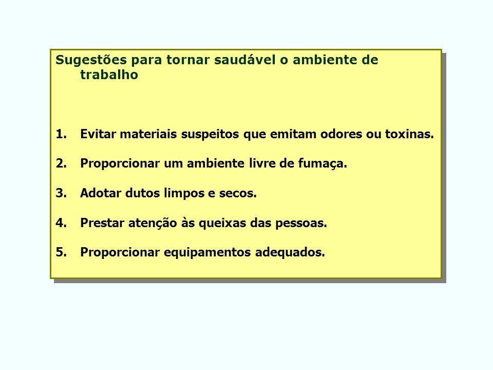 Sugestões para tornar saudável o ambiente de trabalho 1.Evitar materiais suspeitos que emitam odores ou toxinas. 2.Proporcionar um ambiente livre de f
