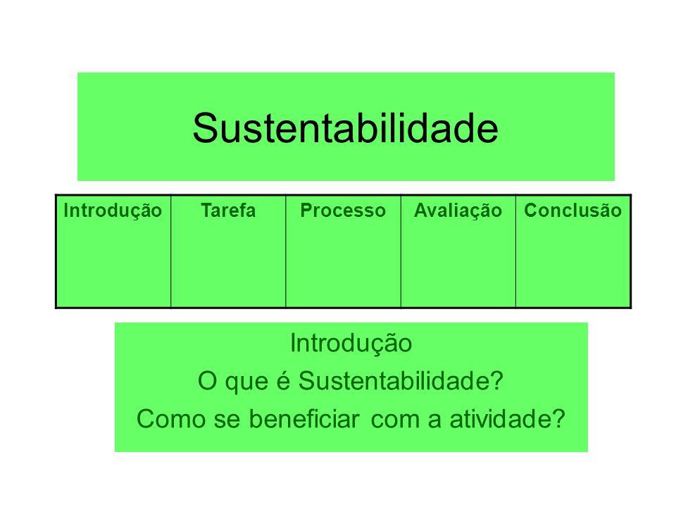 Sustentabilidade Introdução O que é Sustentabilidade? Como se beneficiar com a atividade? IntroduçãoTarefaProcessoAvaliaçãoConclusão