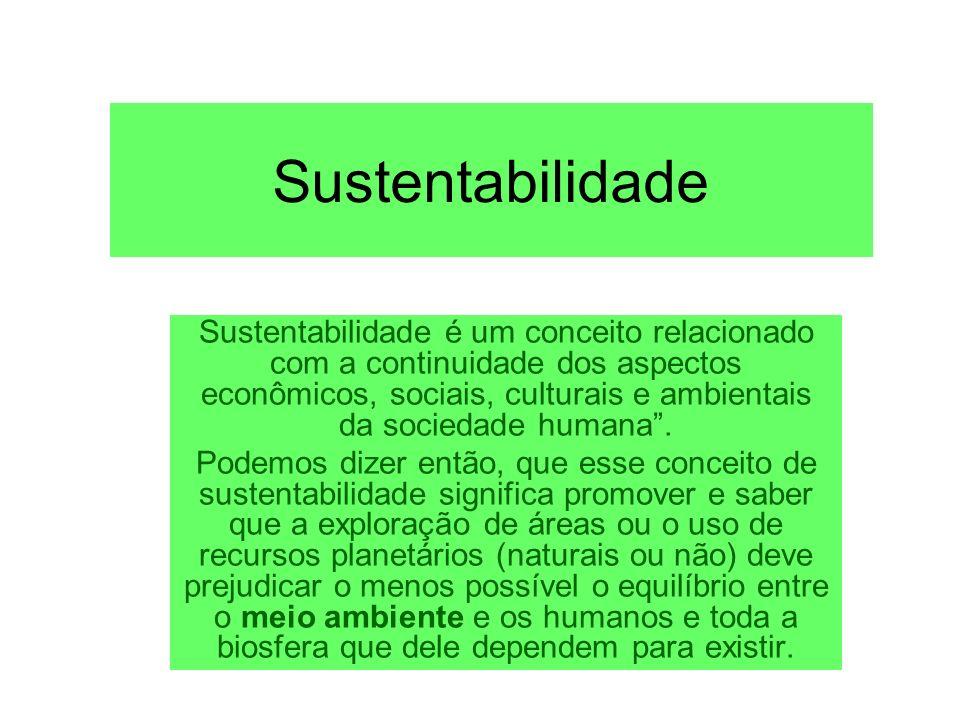 Sustentabilidade Sustentabilidade é um conceito relacionado com a continuidade dos aspectos econômicos, sociais, culturais e ambientais da sociedade h