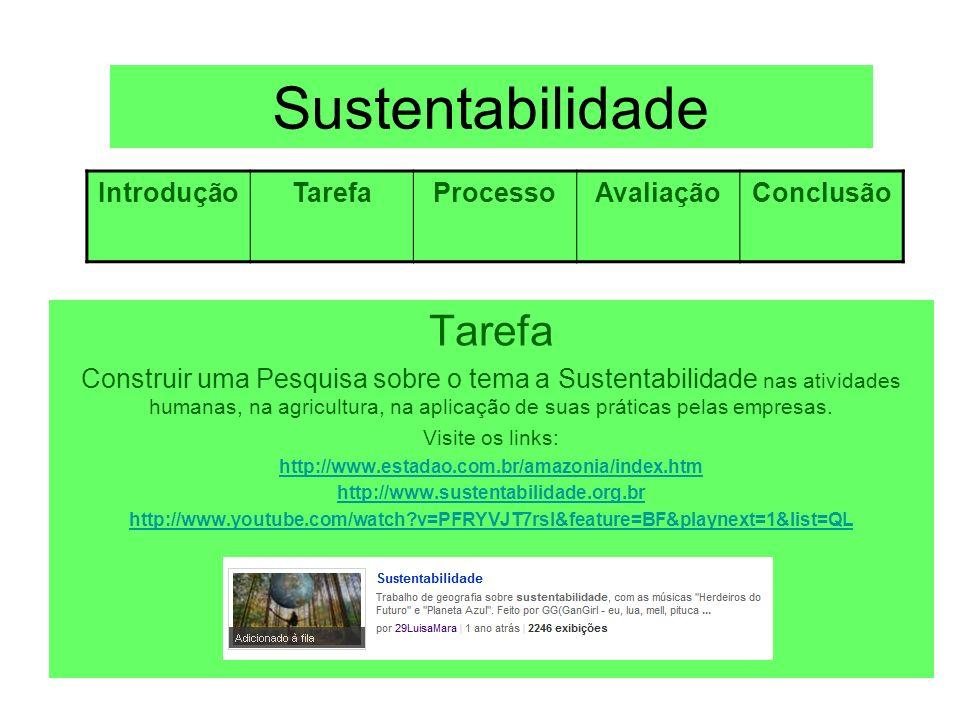 Sustentabilidade Processo Visite os sites: http://www.estadao.com.br/amazonia/artigo_qual_sera_o_futuro_da_amazoni a.htm http://www.ecologiaurbana.com.br/responsabilidade-socioambiental/empresa- sustentavel-mudar-ou-morrer/ http://revistaescola.abril.com.br/geografia/pratica-pedagogica/biomas- brasileiros-mata-atlantica-548610.shtml Empresas sustentáveis - Hoje o público consumidor se preocupa muito http://www.zunal.com/introduction.php http://cienciahoje.uol.com.br/especiais/a-amazonia-em-debate/e-possivel-o- desenvolvimento-sustentavel IntroduçãoTarefaProcessoAvaliaçãoConclusão