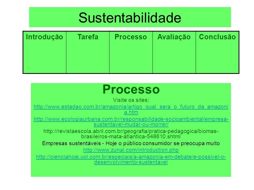 Sustentabilidade Processo Visite os sites: http://www.estadao.com.br/amazonia/artigo_qual_sera_o_futuro_da_amazoni a.htm http://www.ecologiaurbana.com
