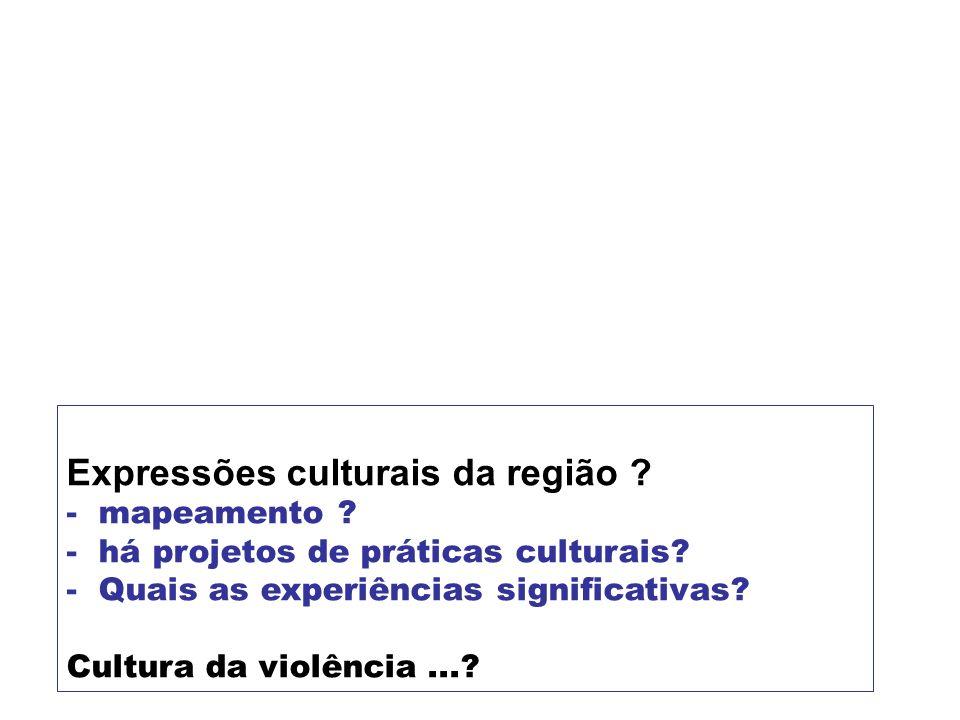 Expressões culturais da região ? - mapeamento ? - há projetos de práticas culturais? - Quais as experiências significativas? Cultura da violência...?