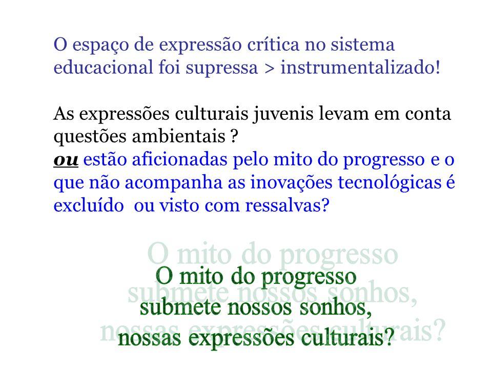 O espaço de expressão crítica no sistema educacional foi supressa > instrumentalizado! As expressões culturais juvenis levam em conta questões ambient