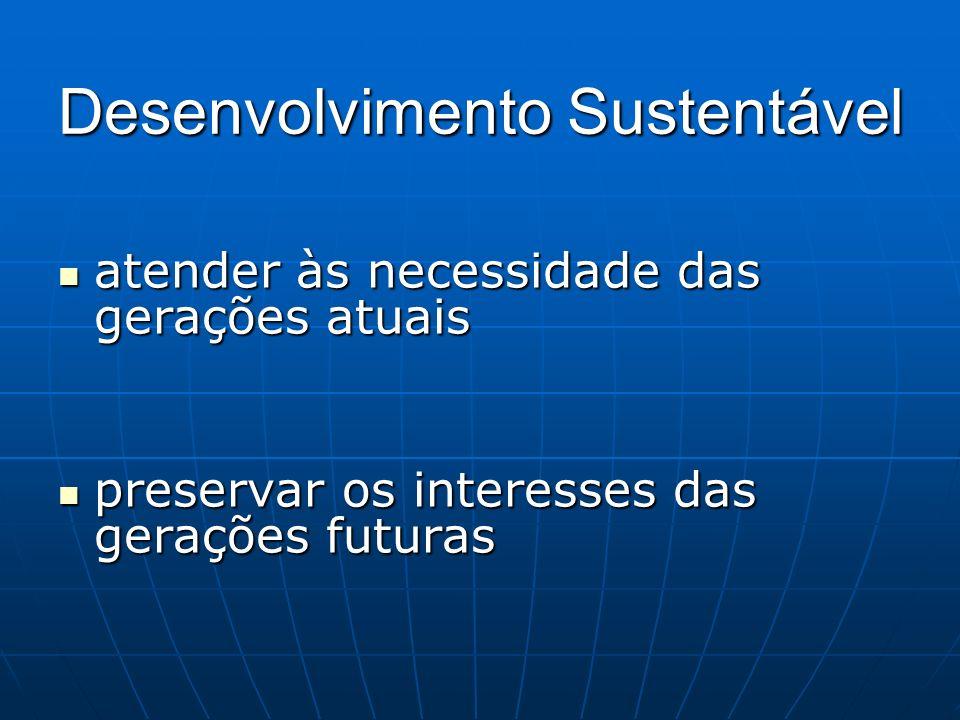 Desenvolvimento Sustentável atender às necessidade das gerações atuais atender às necessidade das gerações atuais preservar os interesses das gerações
