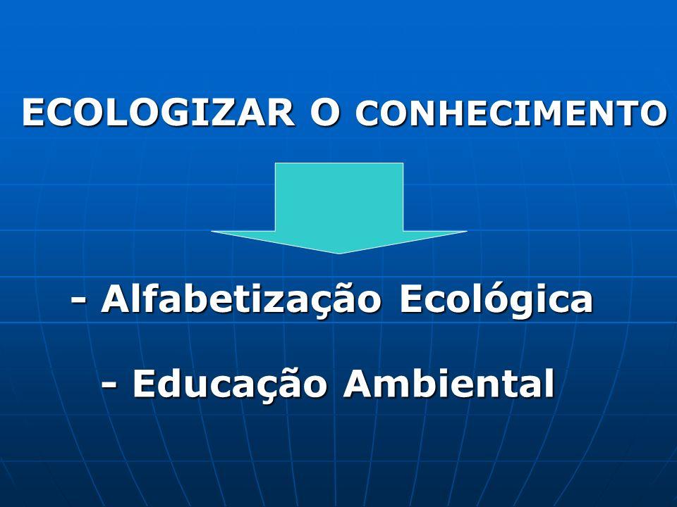 - Alfabetização Ecológica ECOLOGIZAR O CONHECIMENTO - Educação Ambiental
