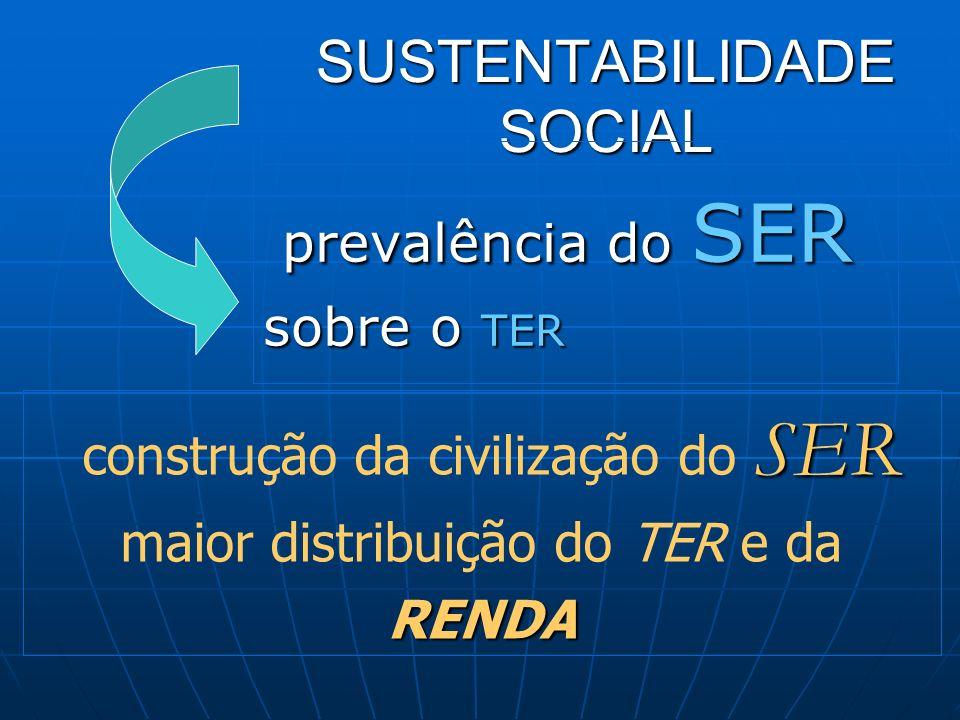 SUSTENTABILIDADE SOCIAL prevalência do SER prevalência do SER sobre o TER SER RENDA construção da civilização do SER maior distribuição do TER e da RE