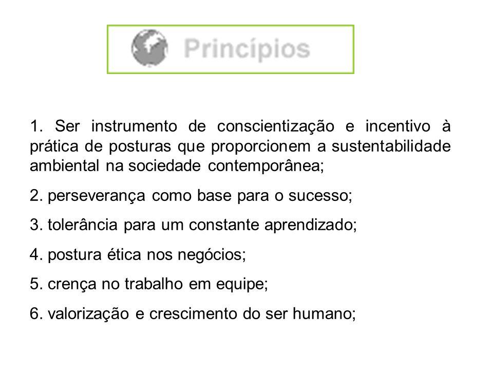 1. Ser instrumento de conscientização e incentivo à prática de posturas que proporcionem a sustentabilidade ambiental na sociedade contemporânea; 2. p