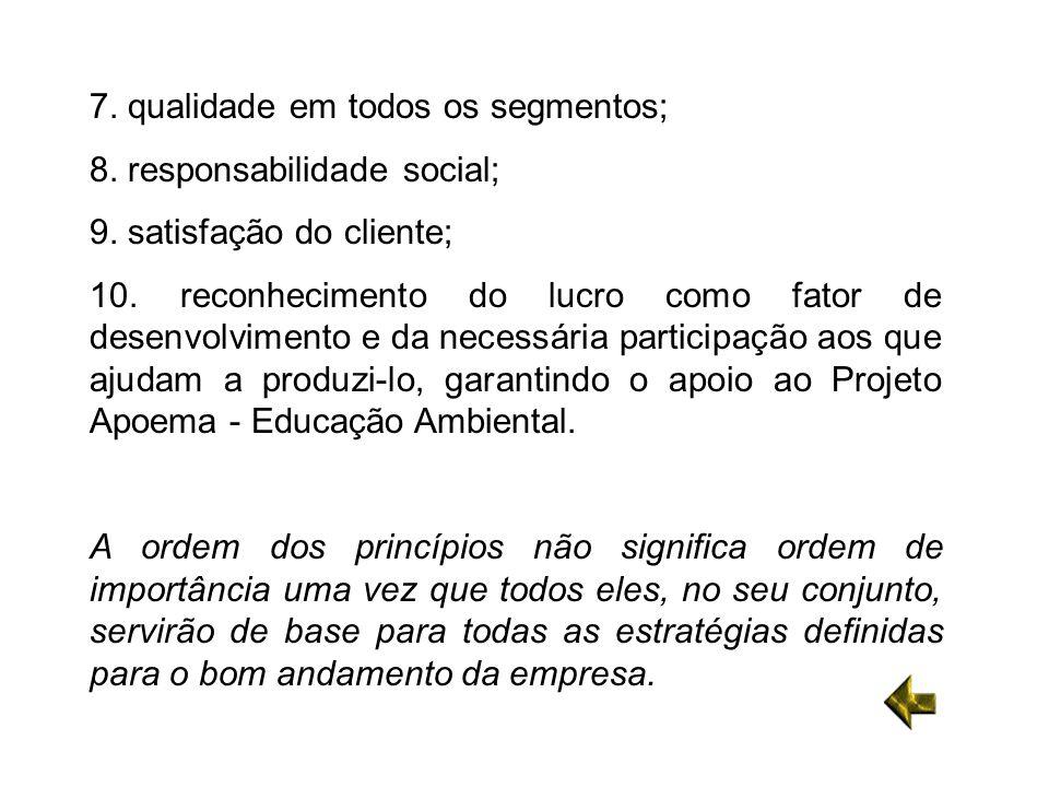 7. qualidade em todos os segmentos; 8. responsabilidade social; 9. satisfação do cliente; 10. reconhecimento do lucro como fator de desenvolvimento e