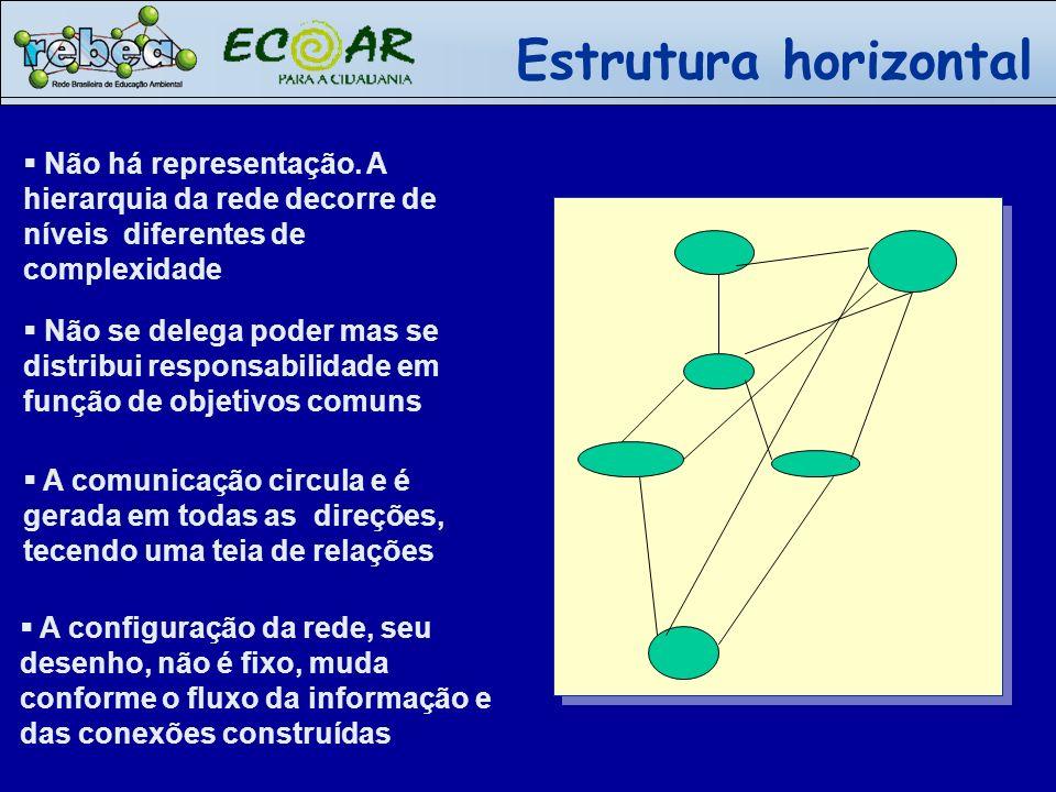 Não há representação. A hierarquia da rede decorre de níveis diferentes de complexidade A configuração da rede, seu desenho, não é fixo, muda conforme
