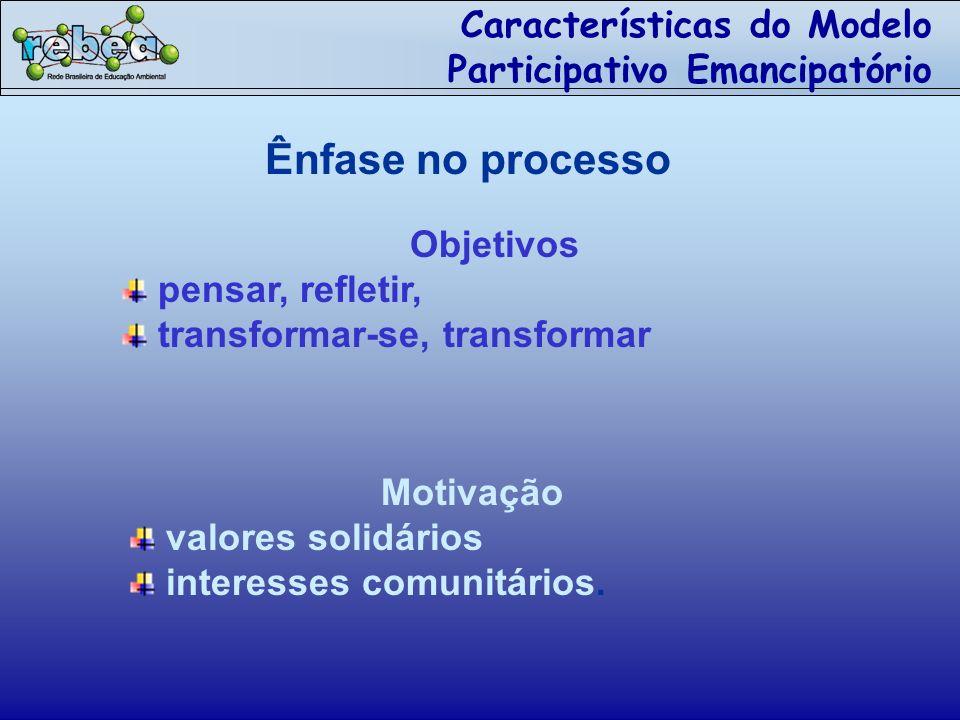 Características do Modelo Participativo Emancipatório Ênfase no processo Objetivos pensar, refletir, transformar-se, transformar Motivação valores solidários interesses comunitários.