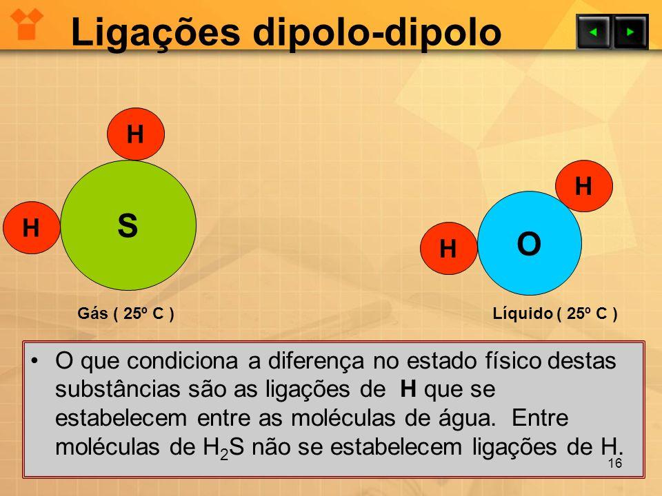 Ligações dipolo-dipolo O que condiciona a diferença no estado físico destas substâncias são as ligações de H que se estabelecem entre as moléculas de