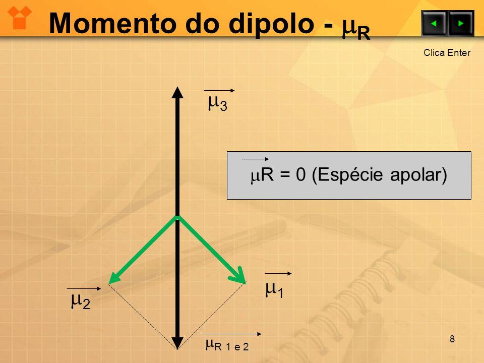Momento do dipolo - R 8 1 2 3 R = 0 (Espécie apolar) R 1 e 2 Clica Enter