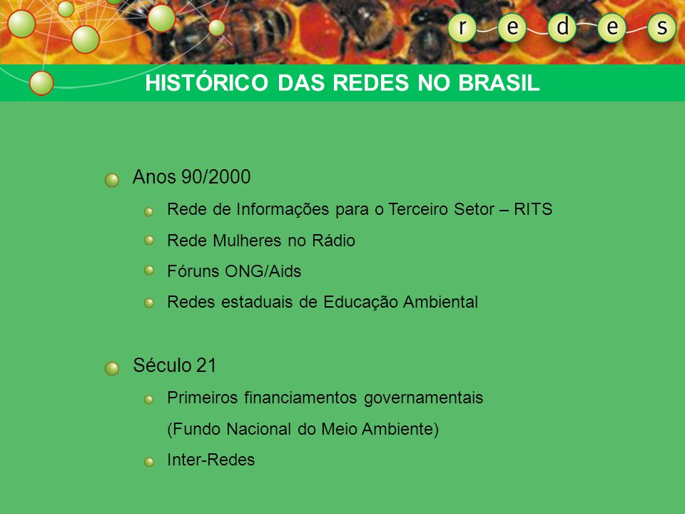 HISTÓRICO DAS REDES NO BRASIL Anos 60/70 – Ditadura e luta pela democracia Anos 80/90 – Primeiras redes Fórum de Defesa da Criança e do Adolescente Re