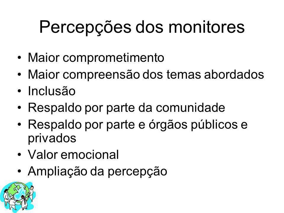 Percepções dos monitores Maior comprometimento Maior compreensão dos temas abordados Inclusão Respaldo por parte da comunidade Respaldo por parte e ór